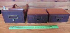 3 Wooden drawers Vintage desk top topper file drawers brass escutcheons antique