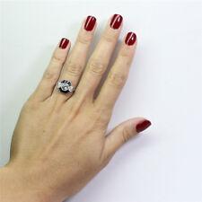 Women Polygon Shape Sparkling Faux Sapphire Rhinestone Princess Rings Gifts JD