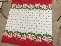 "VTG  Christmas Fabric Curtains Tablecloth 49"" X 49"" Homemade Bells Mid Century"