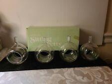 New listing Vtg Set of 4 Two's Company Sitting Pretty Hand Blown Glass Vase Napkin Rings