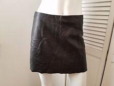 BEBE Black Genuine Leather Mini A Line Skirt Sz 6 VGUC! Lambskin leather