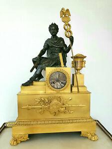LARGE BRONZE DORE ORMOLU ANTIQUE FRENCH EMPIRE CLOCK ROMAN EMPEROR 1810-1820