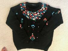 "vintage floral beads jewely sweater ""S"""