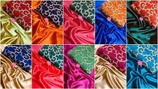 Designer Saree Bollywood Indian Wedding Bridal Plain Satin Silk Sari Blouse BF