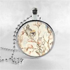PUSSY WILLOWS CAT Jewelry Round Glass Bezel Pendant Necklace with Free 24 Inch N