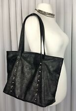 Skull Studded Tote Bag Black PU Leather Gothic Punk Emo Soft Large Size
