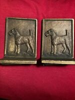 Bradley and Hubbard bookends with terrier dogs, bronze, art deco, good cond.