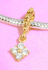 SOLID 9CT 9KT YELLOW GOLD Dangle BEAD with 4 Sparkling CZ Fits Charm Bracelet