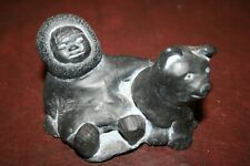 Vintage ALASKA Inuit Eskimo and Dog Carved Stone Figurine - great condition