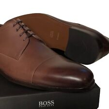 HUGO BOSS Dark Brown Leather Cap-toe Men's 10 43 Oxford Dress Fashion Casual