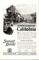 Advertising Sunset Route Southern Pacific Lines Railroad California Sunshine1926