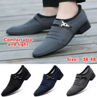 Men's Fashion Dress Business Shoes Casual Pointed Toe Canvas Formal Office Work