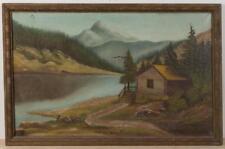 AMERICAN SCHOOL (LATE 19TH/EARLY 20TH CENTURY) FOLK ART LANDSCAPE PAI... Lot 730