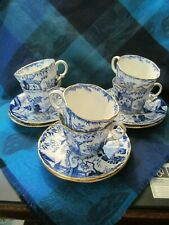 Royal Crown Derby, England,  BLUE MIKADO - Lot of 6 Cups/Saucers - VGC
