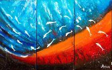 Underwater painting, fish wall art, abstract ocean underwater art
