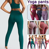 Womens Seamless Yoga Leggings Bra High Waisted Push Up Sports Gym Fitness Pants
