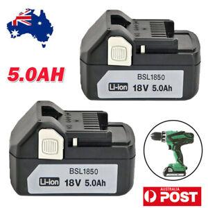 2X For Hitachi 18V 5.0Ah Li-ion Battery BSL1850 BSL1840 BSL1830 BSL1815S Compact