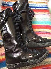Napapijri STIEFEL 40 Schuhe Stiefeletten Schwarz Lack NEUWERTIG Rarität Boots 👠