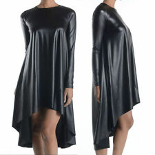 Faux Leather Black Tunic Dress Long Sleeve Mini Hi Lo Midi Swing Top New
