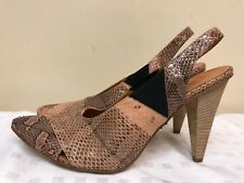 LATITUDE FEMME Genuine Leather Sling Back Wood Stacked Heels shoes size 40
