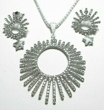 """Large starburst sparkly necklace + earrings,clear glass, 18.5"""" chain"""