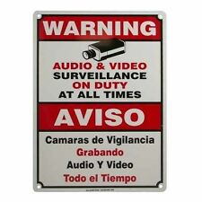 CCTV Warning Security Audio Video Surveillance Camera Sign Large English/Spanish