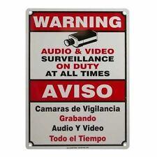 Cctv Warning Security Audio Video Surveillance Camera Sign Small English/Spanish