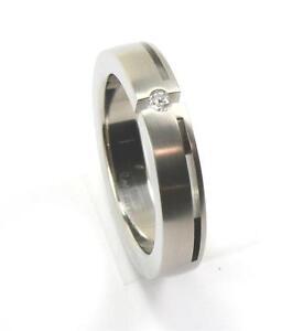 EDWARD MIRELL GRAY TITANIUM  0.06CT DIAMOND MENS WEDDING BAND RING Sz11 R716A-D