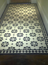 VICTORIAN OLD ENGLISH ORIGINAL STYLE FLOOR TILES KATRINE BLACK AND WHITE