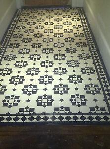 VICTORIAN OLD ENGLISH ORIGINAL STYLE FLOOR TILES KATRINE BLACK AND WHITE Per m2