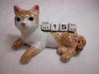 Porcelain Miniature Animal Orange Tabby Cat  Kitten Calendar Defective #CAL303