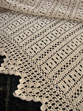 Vintage  french crochet bed cover coverlet Ecru