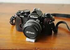 Zhou Black Leather Red Stitching Half Case for Nikon FM2 SLR Camera