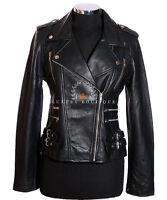 Jessie Black Ladies Women's Rock Chic Biker Retro Real Soft Sheep Leather Jacket
