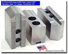 "6"" Steel Soft Jaws 1.5mm x 60° Serrated for B-206 Type Lathe Chucks (1.5"" HT)"