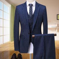 Men's Navy Blue 3 Piece Stripe Blazer Slim Fit Tuxedos Wedding Prom Dinner Suit