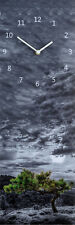 Uhr Wanduhr Glasbild 20x60 Himmel Wolken Baüme blau grau grün  : Art. 02
