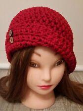 Red button cloche hat crochet womans hand made new beanie