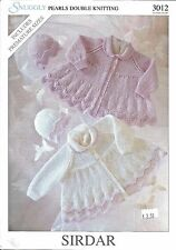 Snuggly Matinee Coat Hat Pearls Double Knitting Pattern Sirdar #3012 Preemie-12m