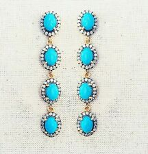 & Diamond Sterling Silver Earring Amazing Fine Natural Arizona Turquoise