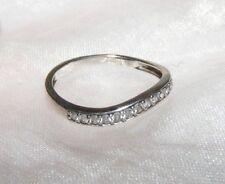 9 Carati 9K Oro Bianco e 0.153 K Diamante Matrimonio 1/3 Anello Eternity Misura