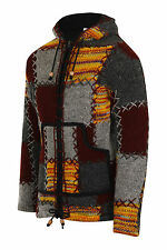 Woollen Jacket Fleece Lined Patchwork Hippie Nepal Hoodie Boho Knitted Coat