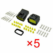 5x 10 Pin Way Waterproof Electrical Connector Plug for Wire Terminal Sockets ET
