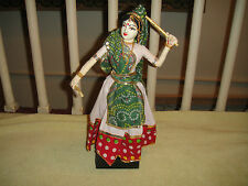 Superb India Fabric Doll-Wood Base-Traditional Clothing-Dancing Sticks-LQQK