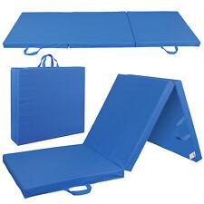 6'x2' Thick Soft Tri-Fold Panel Gym Yoga Pilates Fitness Blue Mat Gymnastics Mat