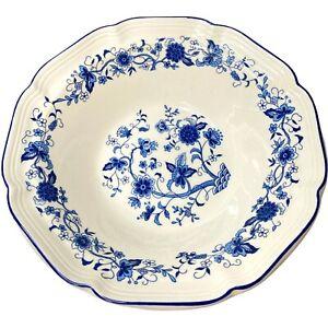 Vintage Hankook Seine Blue Scalloped Rim Vegetable Bowl Pasta Serving Round