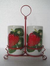 Vtg TII Porcelain Strawberry Salt & Pepper Shaker Set w/Red Holder