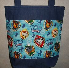 NEW Large Denim Tote Bag Handmade/w Paw Patrol Fabric