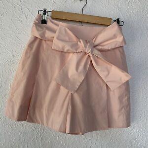 J. Crew Light Pink Poplin Big Tie Bow Pleated High Waisted Shorts Sz 0 NWT