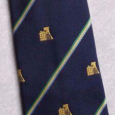 GUTTENBERG club associazione Cravatta Vintage Con Emblema a Righe Blu Scuro 1980s 1990s
